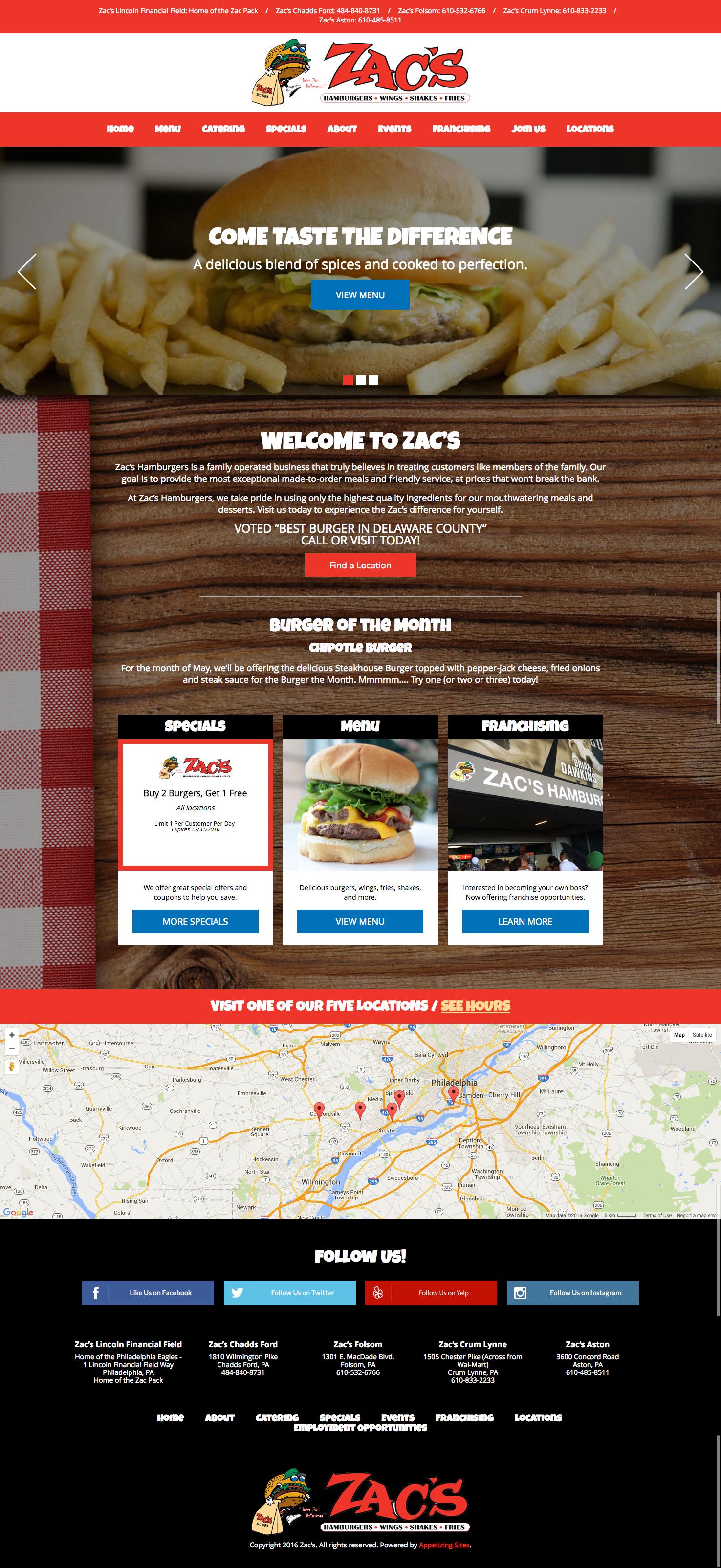 zacs burgers restaurant web design